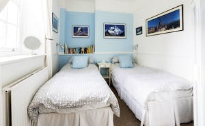 Twin beds in the second bedroom