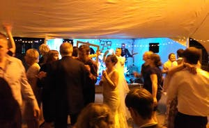 wonderful wedding party and music in the Winery Courtyard Marquee