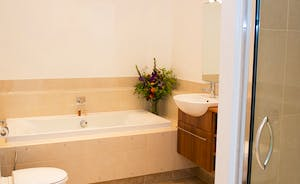 The Old Rectory - The Vernon Suite bathroom, with a bath and a separate shower