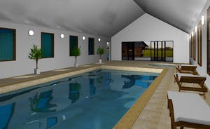 Shires - This computer generated image gives you an idea of how the spa hall will look; with an infinty pool, hot tub and sauna.