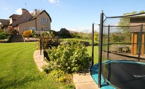 Level entry trampoline with safety enclosure for parental peace of mind.