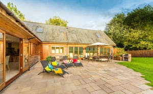Flossy Brook - The large patio is quite a suntrap; perfect for dining alfresco