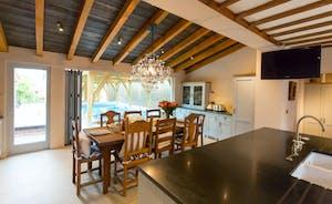 oak table in kitchen