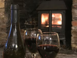 Cosy winter fire at Southclay Holidays