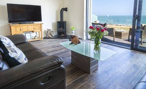 Living area with log burner, widescreen TV and balcony access overlooking the sea