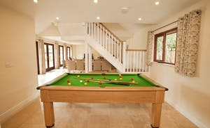 Thorncombe - Fun for all - a pool table at one end of the open plan living sapce