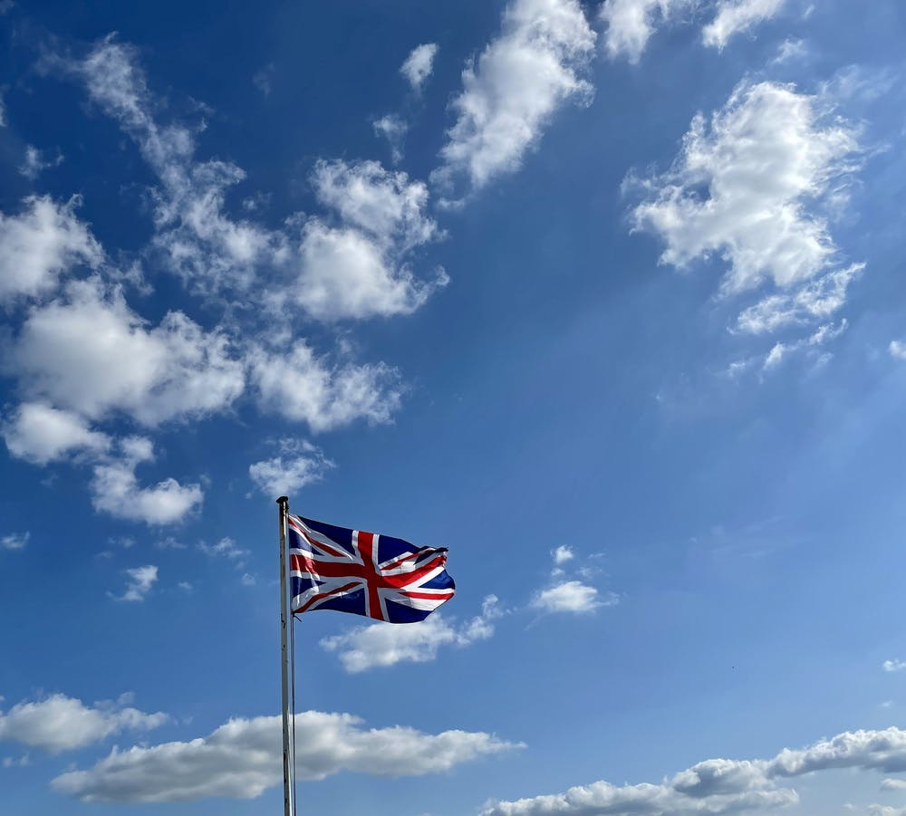 Union jack flag flowing in the wind