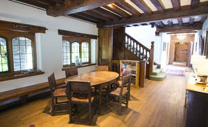 Bossington Hall - Locally reclaimed beams add character to the main hall and Breakfast Area