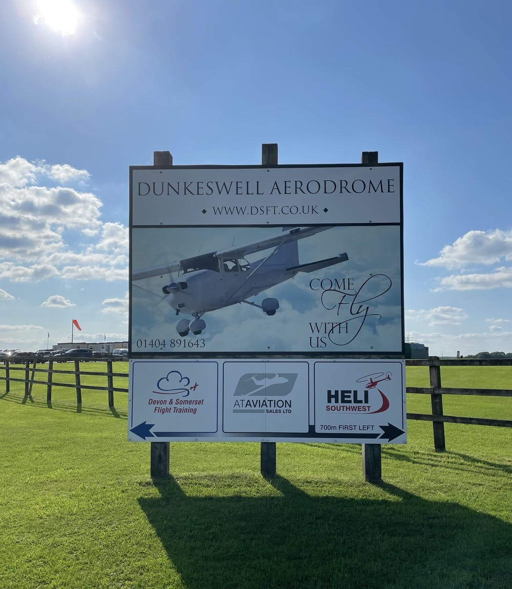 Welcome to Dunkeswell Airfield signage