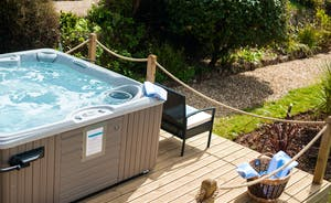 hot tub next to terrace
