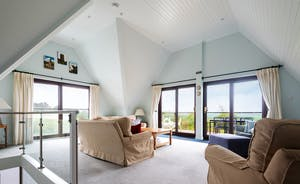 Spacious living area with beautiful views across Padstow