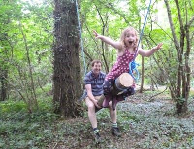 Fun on the log swings
