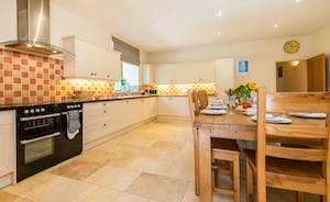 The kitchen at Lavender Barn is the perfect entertaining space- well equipped, light and spacious