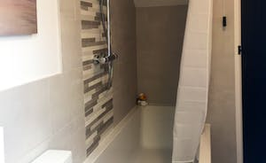 Large bath with overhead shower