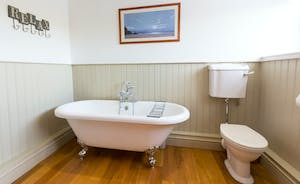 Frog Street: A crisp, fresh feel to the bathroom for the Orchard Suite