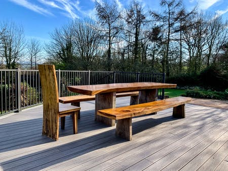 Giant's table on the new decking area