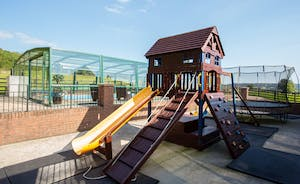Wayside: There's a secure play area with a climbing frame, swings, a slide and trampoline