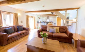 Whinchat Barns - Wagtail Corner has big leather sofas where you can put your feet up; watch TV, read to the kids, chat...