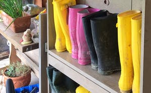 Wellies to borrow at Barlings for tramping through the woods