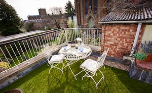 The roof terrace is a lovely place to relax in the evenings and listen to the Abbey bells
