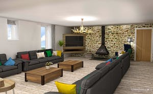 Croftview - Computer generated image of how the lounge area will look - plenty of seating, a wood-burner and a huge TV