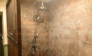 bathroom showing shower area