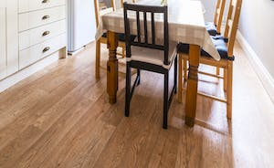 Dining table in the kitchen seats 6