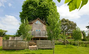 The Treehouse has a large garden with trees and private  wooden play area