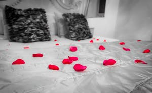 Rose petals on the bed for your arrival