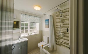 Stylish bathroom with overhead shower