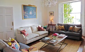 Berry House - The large and elegant drawing room with high ceilings and breathtaking views