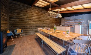 Whimbrels Barton - A rustic and cosy ambience sets the scene for happy feasts in Shovellers, the communal dining house