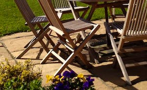 Guests own patio area with bbq sun loungers and free to room all gardens and fields