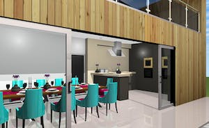 Shires - This computerised image shows how the kitchen-diner will look, with huge doors opening onto the patio - all level flooring and access friendly