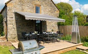 Spacious enclosed garden at Threshing barns, Little Upton, Somerset