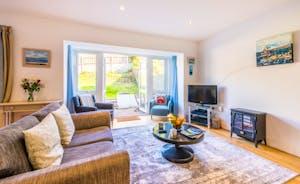 Living Room with Log Burner & Rural Views