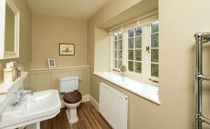 Pitsworthy: A loo with a view - over the garden and the steep wooded hillside