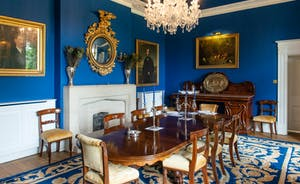 Severn Manor - Opulent blue tones in the formal Dining Room