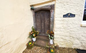 Halse Water House - An gorgeously original front door takes you into the entrance porch, with a  traditional cobbled floor