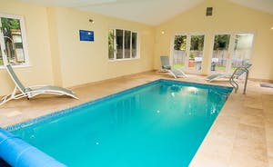 Cockercombe - At the foot of the Quantock Hills, surrounded by glorious Somerset countryside, this luxury lodge sleeps 14 and has it's own indoor heated pool