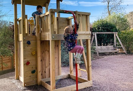 Fabulous new play tower with fireman's pole