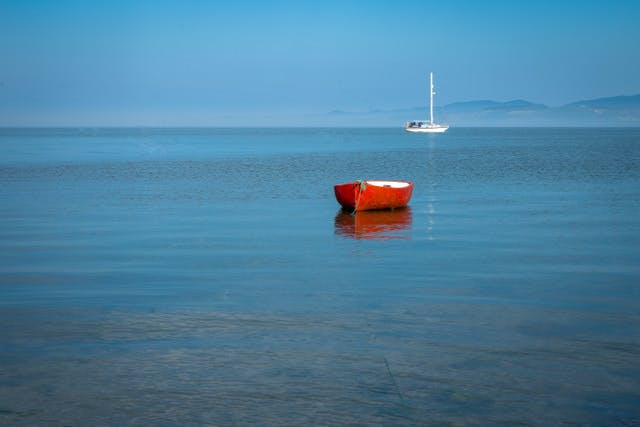 Red Boat on the water at Anglesey