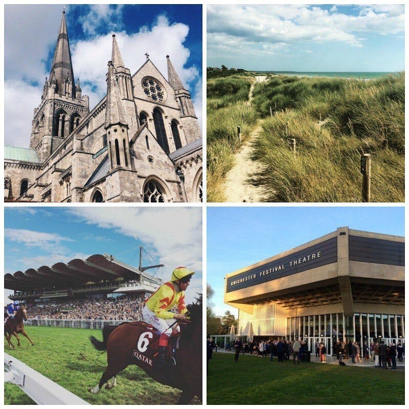 Chichester cathedral, west wittering beach, goodwood racecourse and chichester festival theatre.