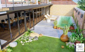 Pigertons - A glass walled living space below; a sunny roof terrace above.
