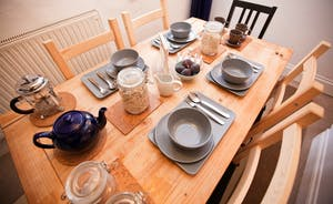 Plenty of space around the vintage dining table