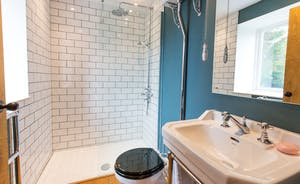 House On The Hill - Bedroom 8: and it has a delightful ensuite shower room; London tiles, a high level traditional cistern