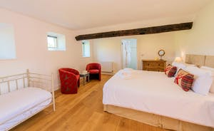 Pound Farm - Bedroom 8: Lovely and private, on the ground floor, with views over the fields