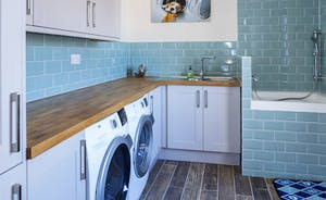 Utility with built in washing machine, tumble dryer and dog shower!