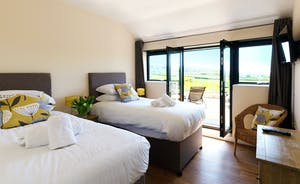 Shires - Bedroom 2, calm and restful with doors to the sun terrace