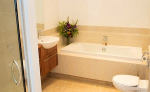 The Old Rectory - The Alford Suite bathroom has a bath and a separate shower